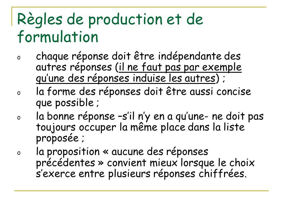 Règles de production et de formulation o chaque réponse doit être indépendante des autres réponses (il ne faut pas par exemple qu'une des réponses ind