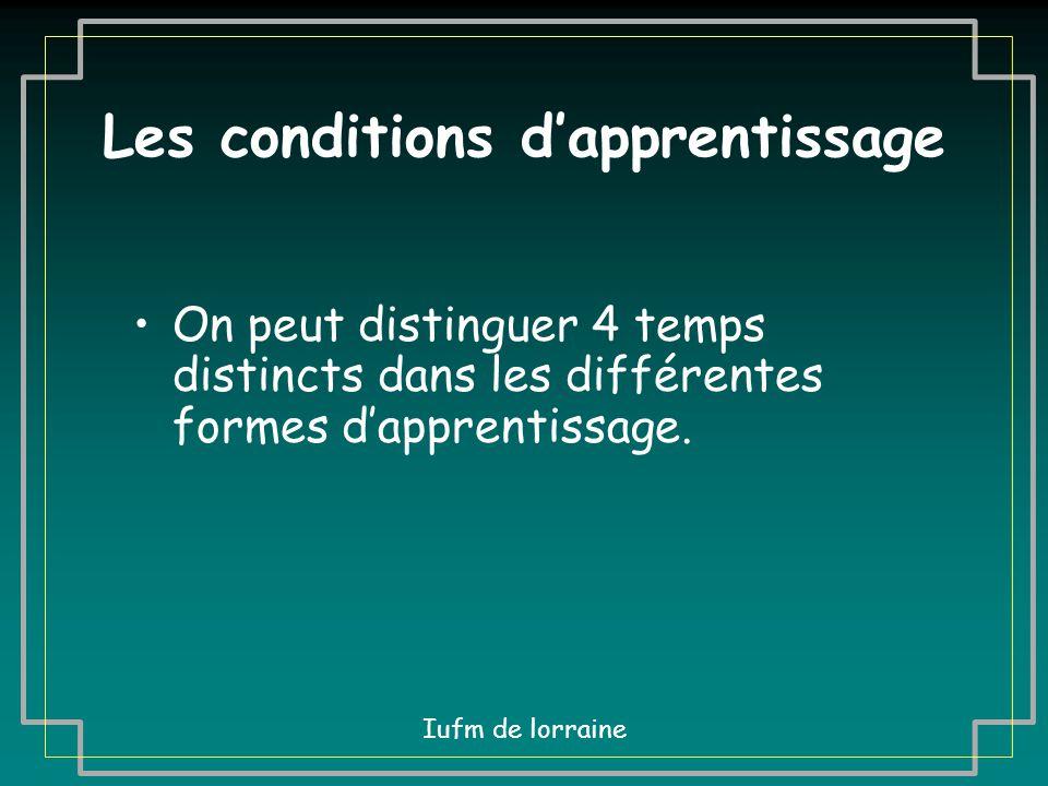 Les conditions d'apprentissage Iufm de lorraine Diaporama réalisé par Daniel Herbourg