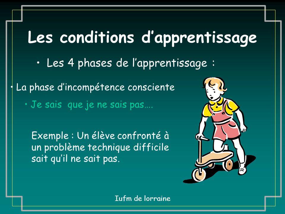 Les conditions d'apprentissage Les 4 phases de l'apprentissage : La phase d'incompétence consciente Je sais que je ne sais pas…. Exemple : Un enfant q