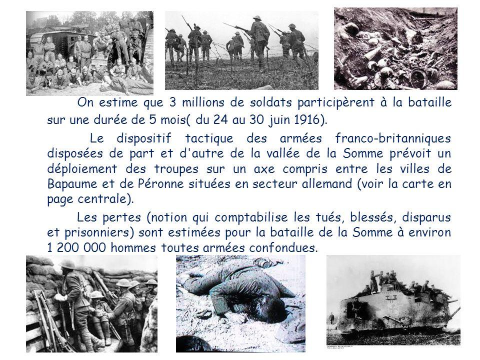 On estime que 3 millions de soldats participèrent à la bataille sur une durée de 5 mois( du 24 au 30 juin 1916). Le dispositif tactique des armées fra