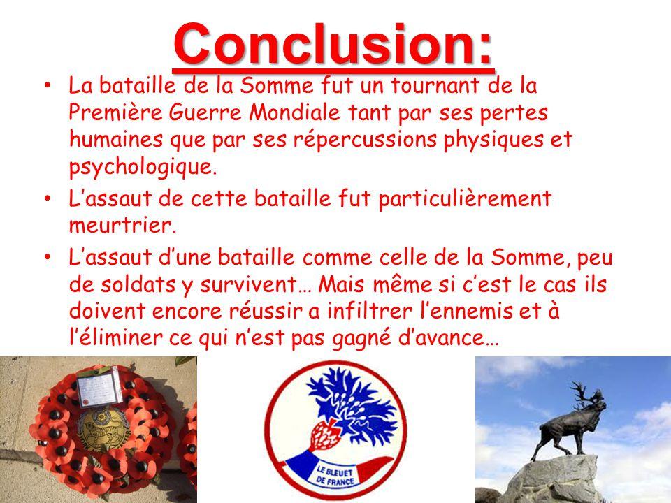 Conclusion: La bataille de la Somme fut un tournant de la Première Guerre Mondiale tant par ses pertes humaines que par ses répercussions physiques et