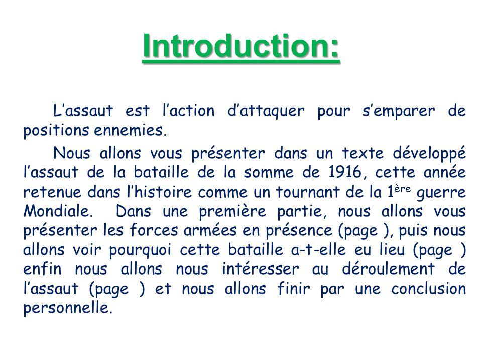 Introduction: L'assaut est l'action d'attaquer pour s'emparer de positions ennemies. Nous allons vous présenter dans un texte développé l'assaut de la