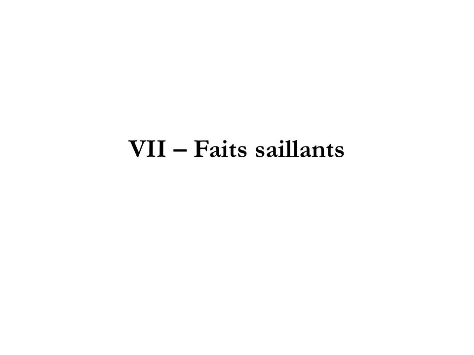 VII – Faits saillants