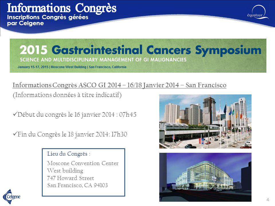 Informations Congrès ASCO GI 2014 – 16/18 Janvier 2014 – San Francisco (Informations données à titre indicatif) Début du congrès le 16 janvier 2014 :