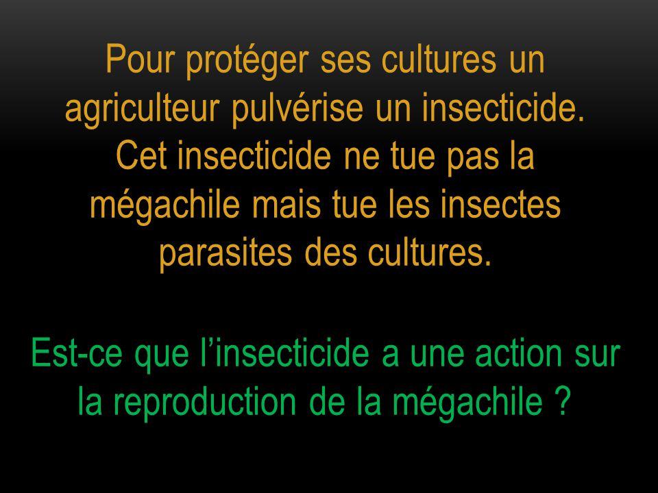 Pour protéger ses cultures un agriculteur pulvérise un insecticide. Cet insecticide ne tue pas la mégachile mais tue les insectes parasites des cultur