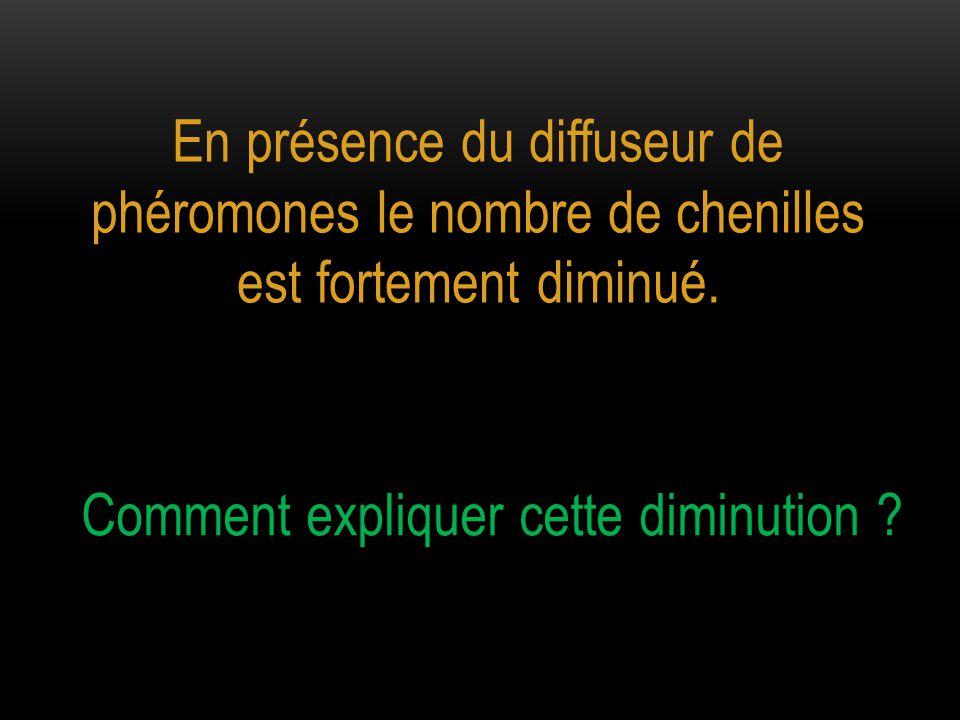 En présence du diffuseur de phéromones le nombre de chenilles est fortement diminué. Comment expliquer cette diminution ?