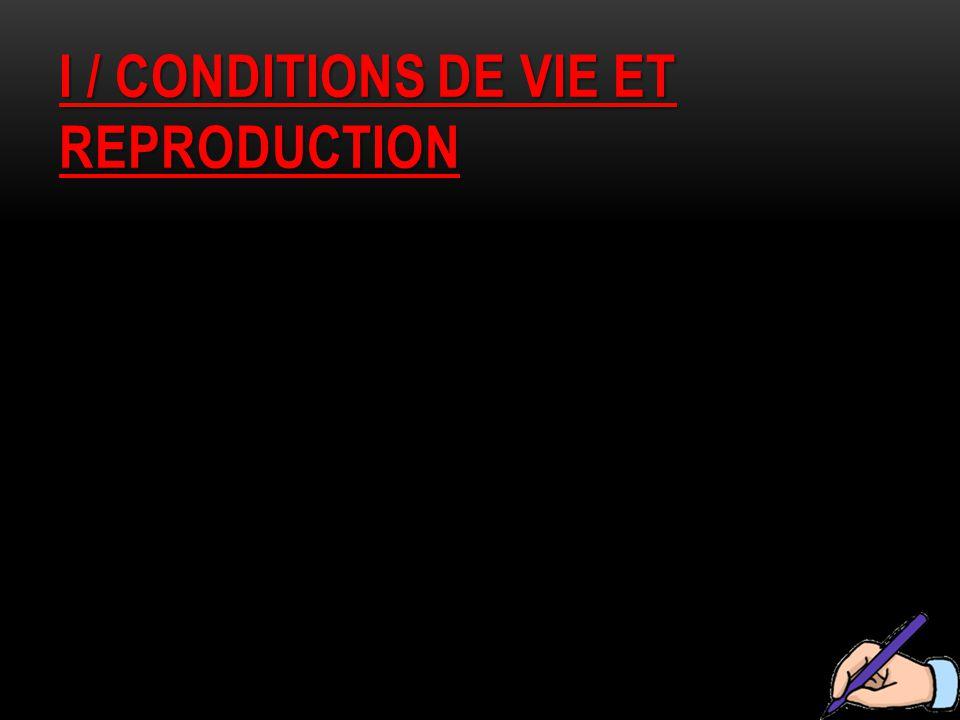 I / CONDITIONS DE VIE ET REPRODUCTION