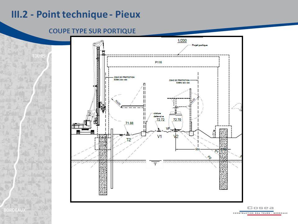 III.2 - Point technique - Pieux COUPE TYPE SUR PORTIQUE