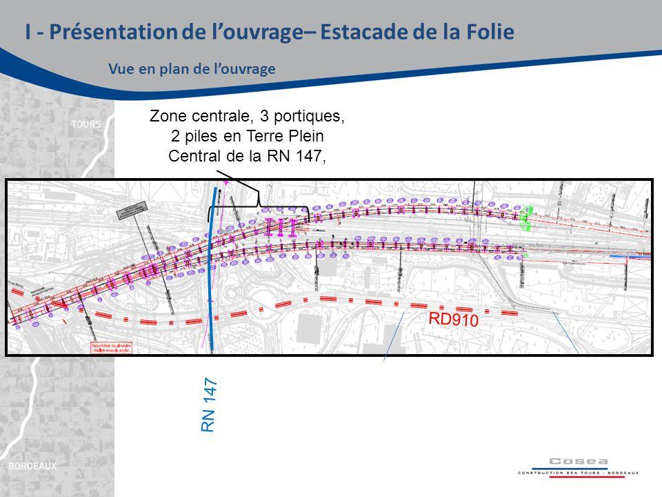 I - Présentation de l'ouvrage– Estacade de la Folie Vue en plan de l'ouvrage Zone centrale, 3 portiques, 2 piles en Terre Plein Central de la RN 147, RD910 RN 147