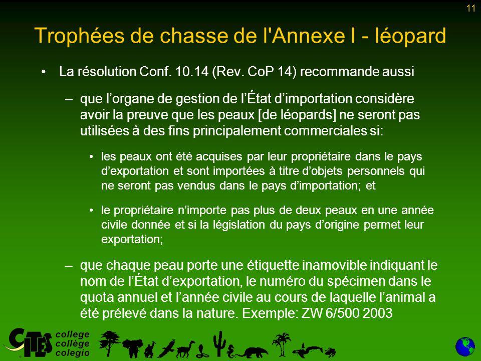11 Trophées de chasse de l Annexe I - léopard La résolution Conf.