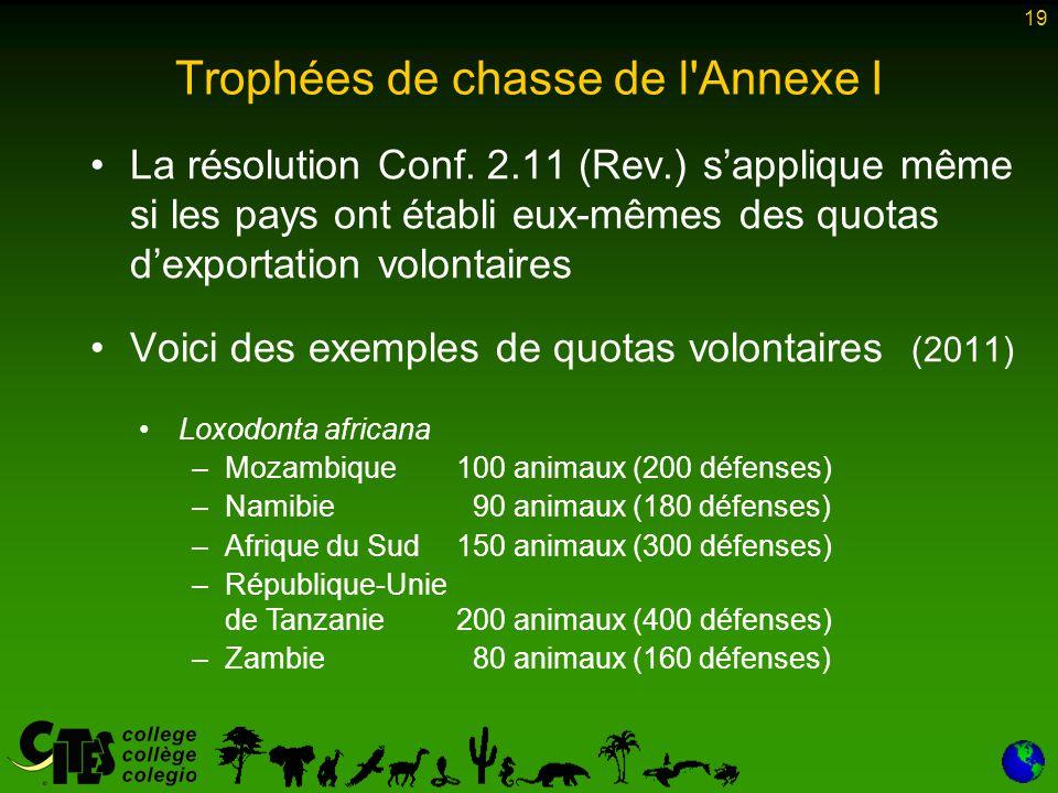 19 Trophées de chasse de l Annexe I La résolution Conf.