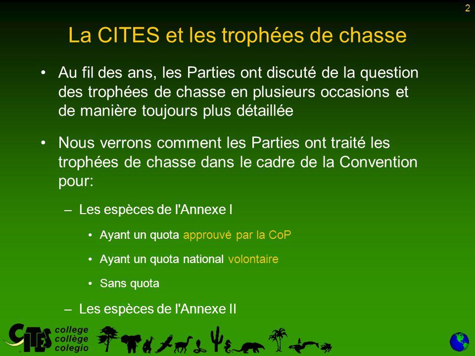 13 Trophées de chasse de l Annexe I – autres espèces La démarche raisonnable adoptée pour le léopard à la CdP8 [et reprise dans la résolution Conf.