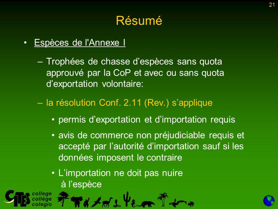 21 Résumé Espèces de l Annexe I –Trophées de chasse d'espèces sans quota approuvé par la CoP et avec ou sans quota d'exportation volontaire: –la résolution Conf.