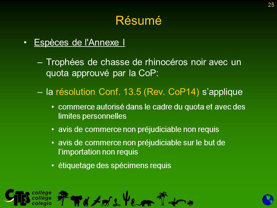 25 Résumé Espèces de l Annexe I –Trophées de chasse de rhinocéros noir avec un quota approuvé par la CoP: –la résolution Conf.