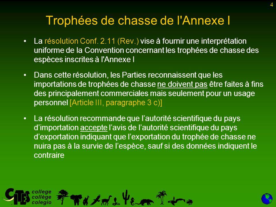 15 Trophées de chasse de l Annexe I - markhor Bien que la CdP dispose, avec la résolution 9.21 (Rev.
