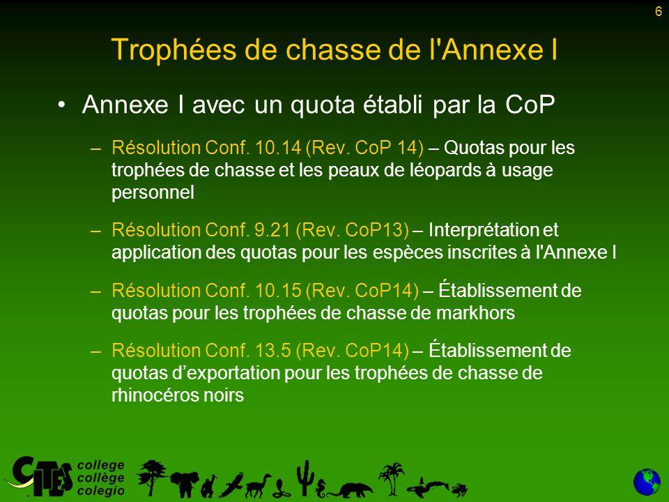 6 Trophées de chasse de l Annexe I Annexe I avec un quota établi par la CoP –Résolution Conf.