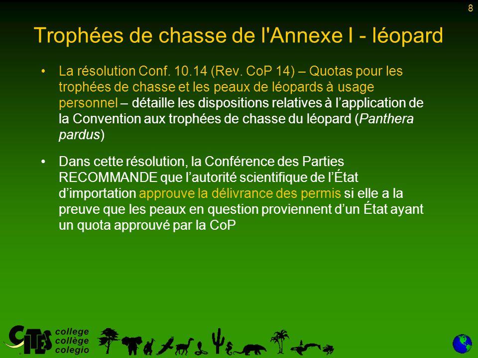 8 Trophées de chasse de l Annexe I - léopard La résolution Conf.