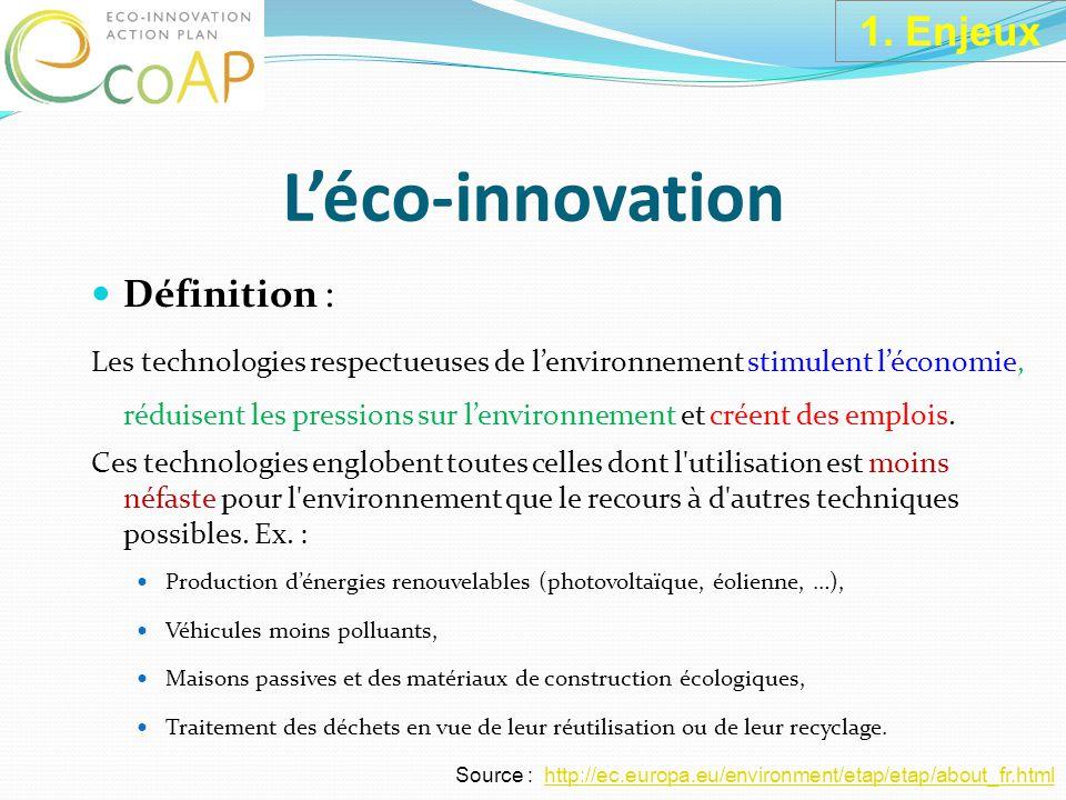 L'éco-innovation Définition : Les technologies respectueuses de l'environnement stimulent l'économie, réduisent les pressions sur l'environnement et créent des emplois.