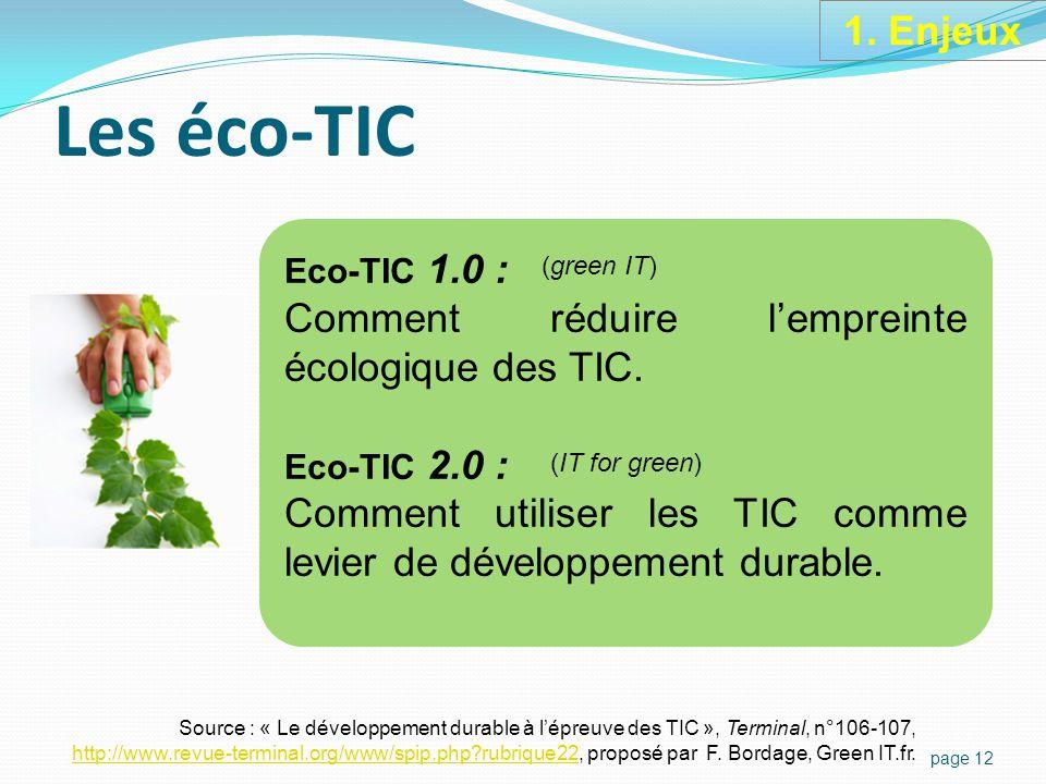 Les éco-TIC page 12 Eco-TIC 1.0 : Comment réduire l'empreinte écologique des TIC.