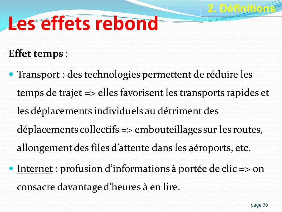 page 30 Effet temps : Transport : des technologies permettent de réduire les temps de trajet => elles favorisent les transports rapides et les déplacements individuels au détriment des déplacements collectifs => embouteillages sur les routes, allongement des files d'attente dans les aéroports, etc.
