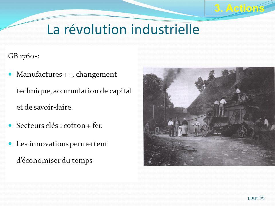 La révolution industrielle GB 1760-: Manufactures ++, changement technique, accumulation de capital et de savoir-faire.