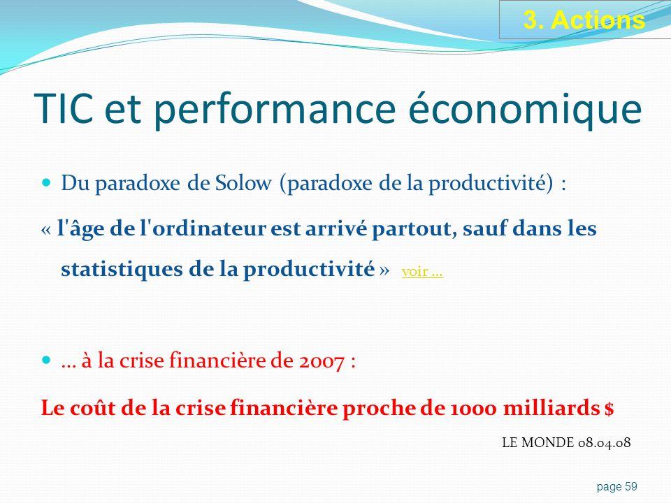 TIC et performance économique Du paradoxe de Solow (paradoxe de la productivité) : « l âge de l ordinateur est arrivé partout, sauf dans les statistiques de la productivité » voir … voir … … à la crise financière de 2007 : Le coût de la crise financière proche de 1000 milliards $ LE MONDE 08.04.08 page 59 3.