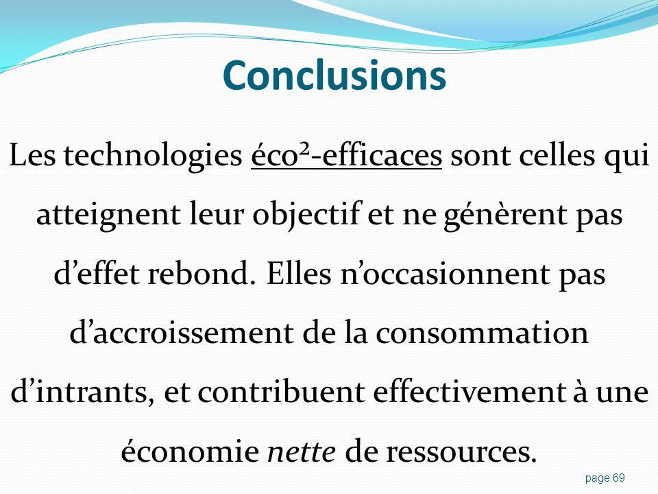 Conclusions Les technologies éco²-efficaces sont celles qui atteignent leur objectif et ne génèrent pas d'effet rebond.