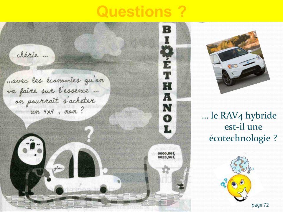 page 72 Questions ? … le RAV4 hybride est-il une écotechnologie ?