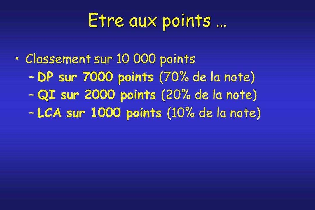 Etre aux points … Classement sur 10 000 points –DP sur 7000 points (70% de la note) –QI sur 2000 points (20% de la note) –LCA sur 1000 points (10% de