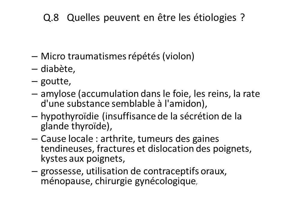 Q.8 Quelles peuvent en être les étiologies ? – Micro traumatismes répétés (violon) – diabète, – goutte, – amylose (accumulation dans le foie, les rein