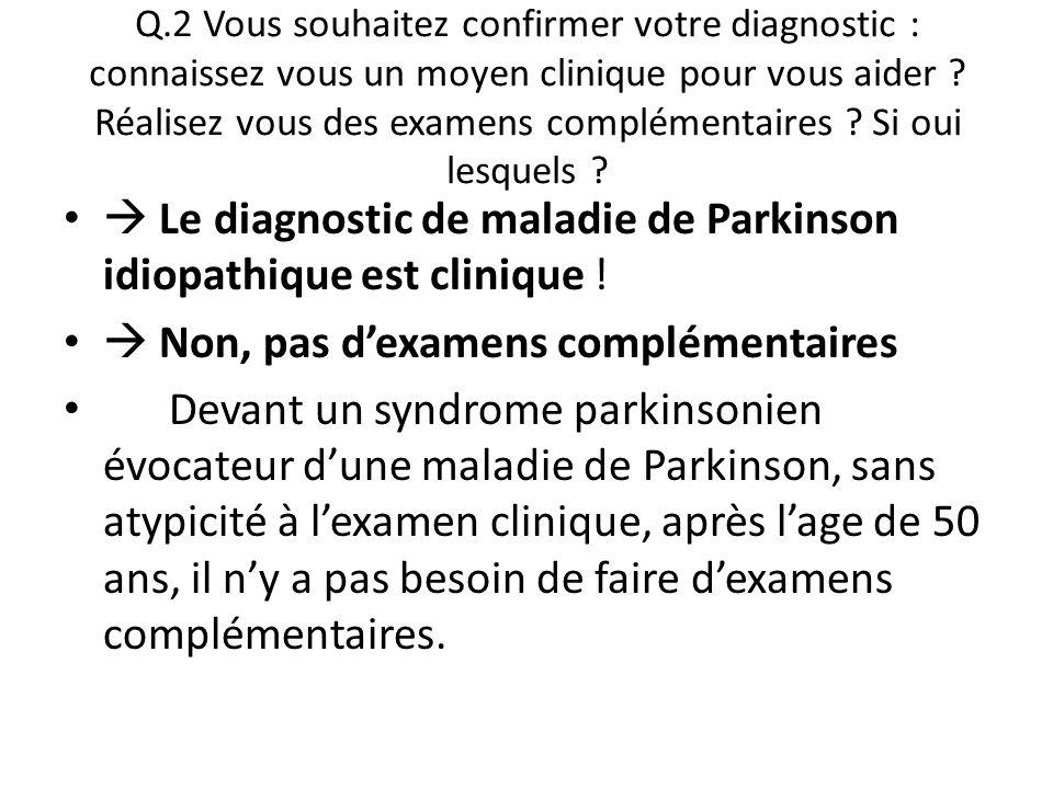 Q.2 Vous souhaitez confirmer votre diagnostic : connaissez vous un moyen clinique pour vous aider ? Réalisez vous des examens complémentaires ? Si oui