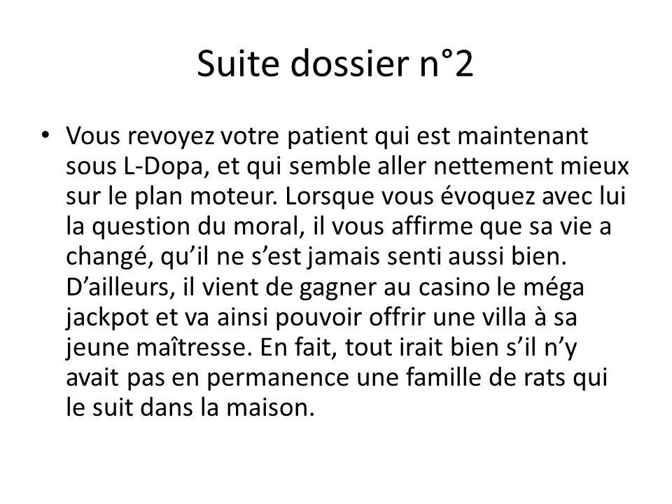 Suite dossier n°2 Vous revoyez votre patient qui est maintenant sous L-Dopa, et qui semble aller nettement mieux sur le plan moteur. Lorsque vous évoq
