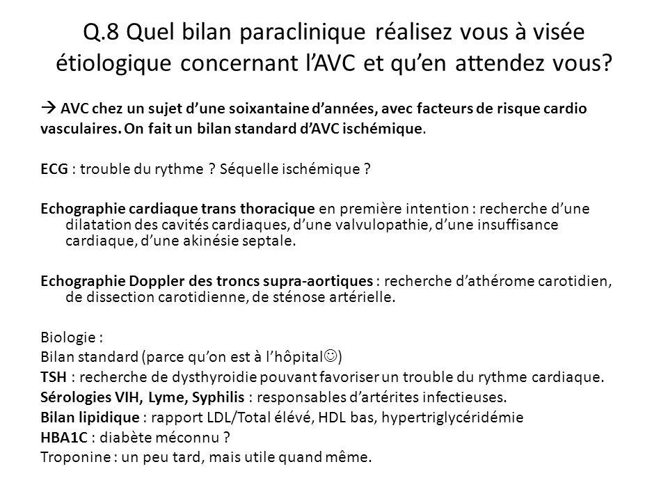 Q.8 Quel bilan paraclinique réalisez vous à visée étiologique concernant l'AVC et qu'en attendez vous?  AVC chez un sujet d'une soixantaine d'années,