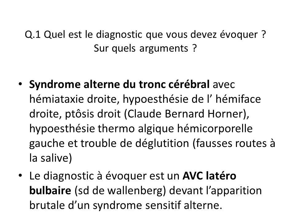 Q.1 Quel est le diagnostic que vous devez évoquer ? Sur quels arguments ? Syndrome alterne du tronc cérébral avec hémiataxie droite, hypoesthésie de l