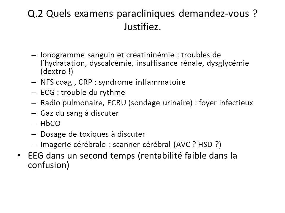 Q.2 Quels examens paracliniques demandez-vous ? Justifiez. – Ionogramme sanguin et créatininémie : troubles de l'hydratation, dyscalcémie, insuffisanc