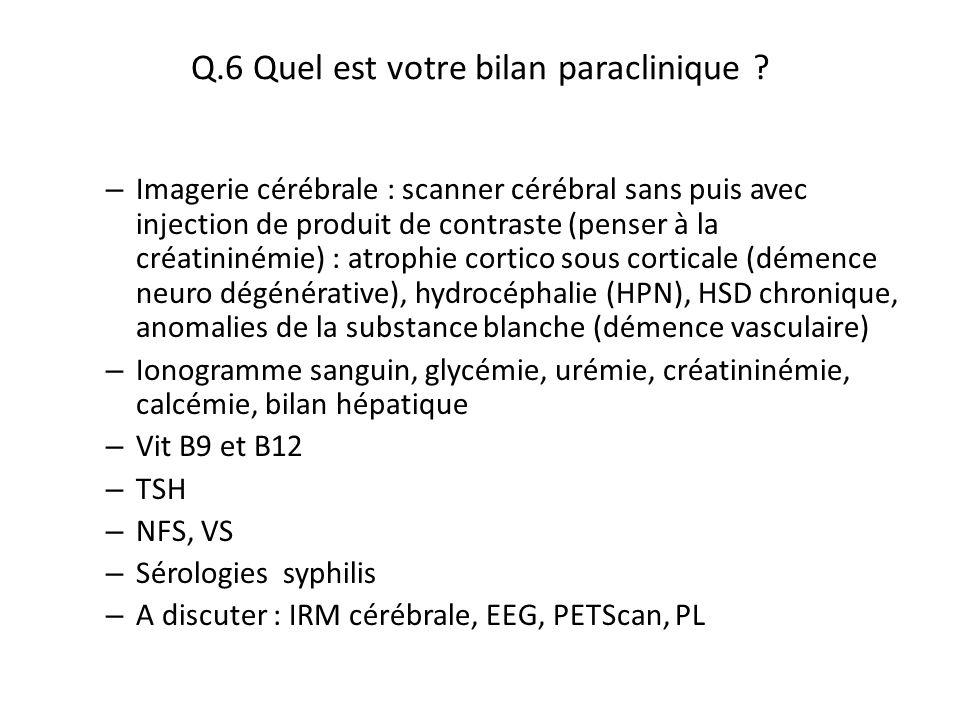 Q.6 Quel est votre bilan paraclinique ? – Imagerie cérébrale : scanner cérébral sans puis avec injection de produit de contraste (penser à la créatini