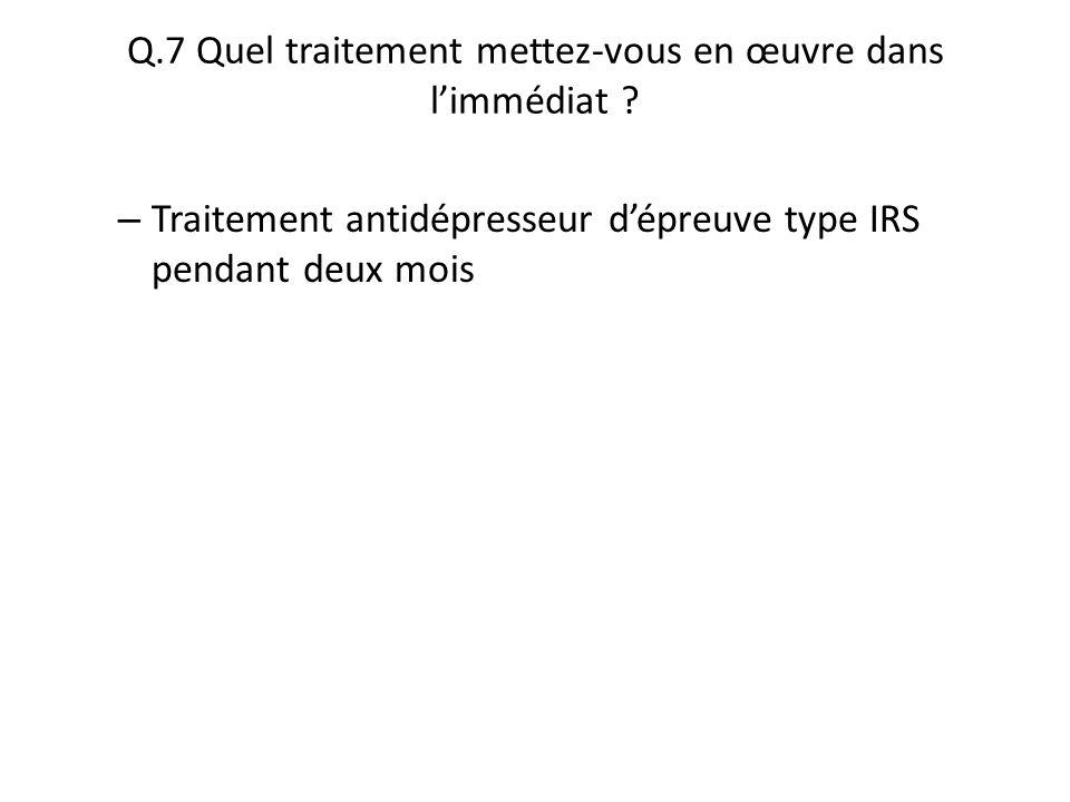 Q.7 Quel traitement mettez-vous en œuvre dans l'immédiat ? – Traitement antidépresseur d'épreuve type IRS pendant deux mois