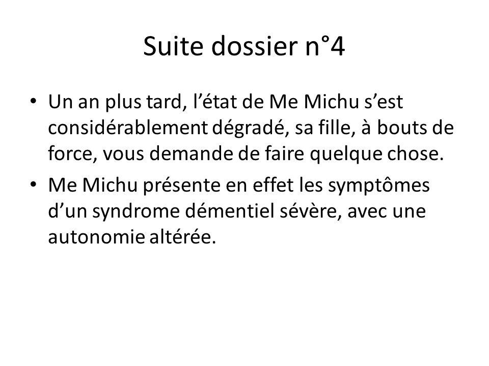 Suite dossier n°4 Un an plus tard, l'état de Me Michu s'est considérablement dégradé, sa fille, à bouts de force, vous demande de faire quelque chose.
