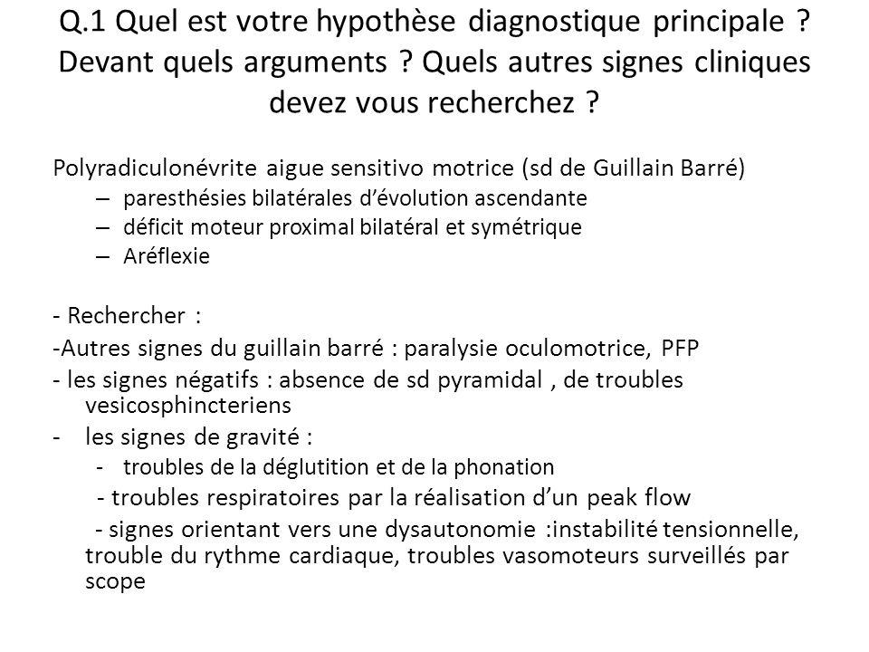 Q.1 Quel est votre hypothèse diagnostique principale ? Devant quels arguments ? Quels autres signes cliniques devez vous recherchez ? Polyradiculonévr