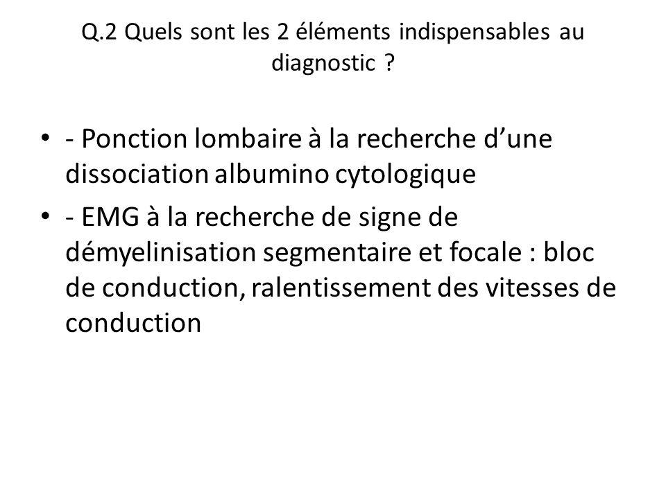 Q.2 Quels sont les 2 éléments indispensables au diagnostic ? - Ponction lombaire à la recherche d'une dissociation albumino cytologique - EMG à la rec