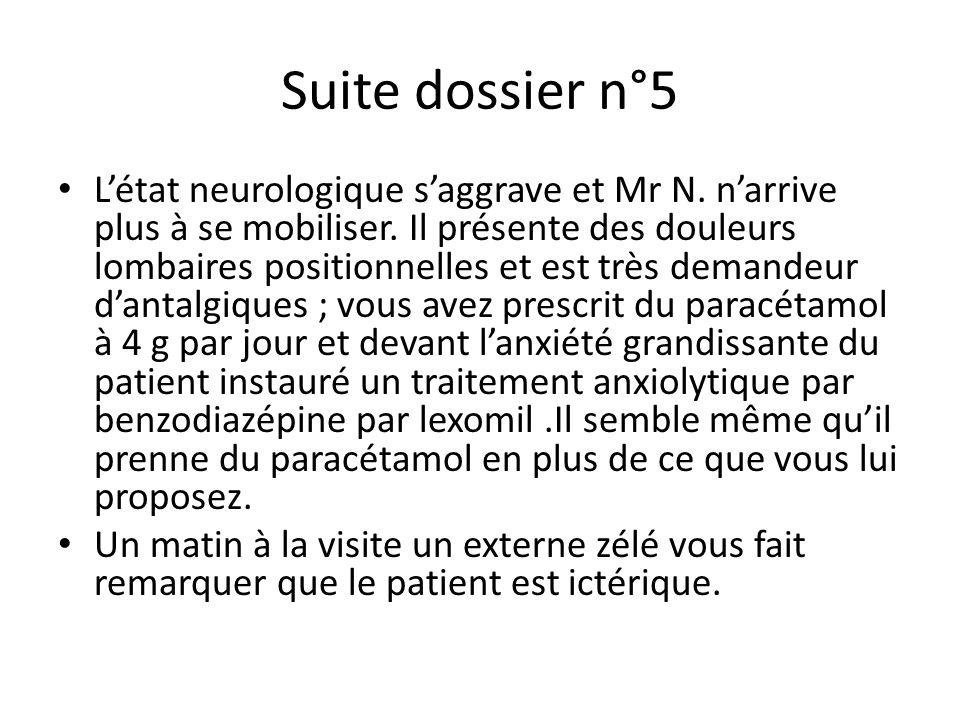 Suite dossier n°5 L'état neurologique s'aggrave et Mr N. n'arrive plus à se mobiliser. Il présente des douleurs lombaires positionnelles et est très d