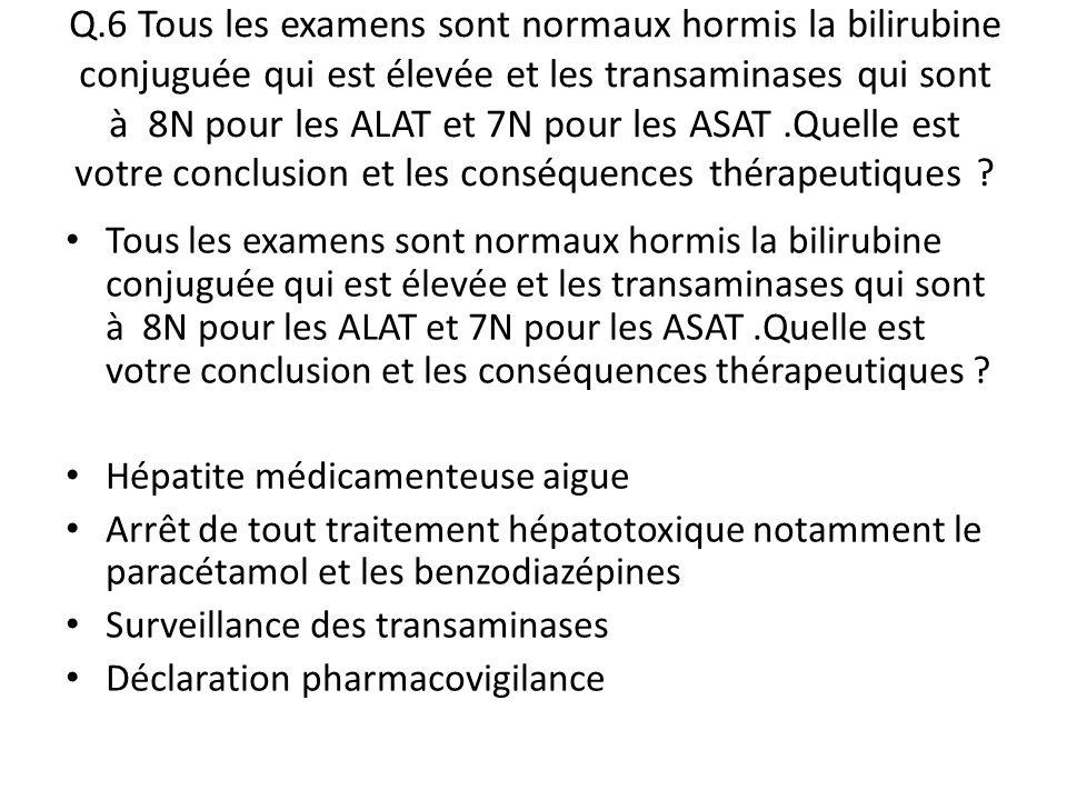 Q.6 Tous les examens sont normaux hormis la bilirubine conjuguée qui est élevée et les transaminases qui sont à 8N pour les ALAT et 7N pour les ASAT.Q