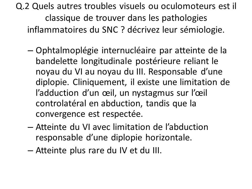 Q.2 Quels autres troubles visuels ou oculomoteurs est il classique de trouver dans les pathologies inflammatoires du SNC ? décrivez leur sémiologie. –
