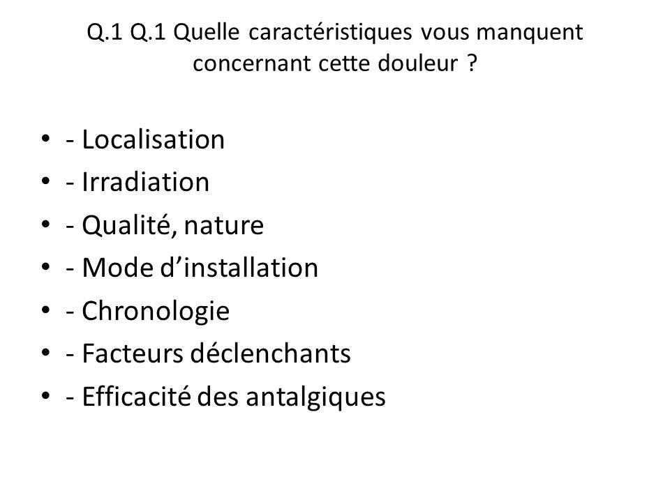 Q.1 Q.1 Quelle caractéristiques vous manquent concernant cette douleur ? - Localisation - Irradiation - Qualité, nature - Mode d'installation - Chrono