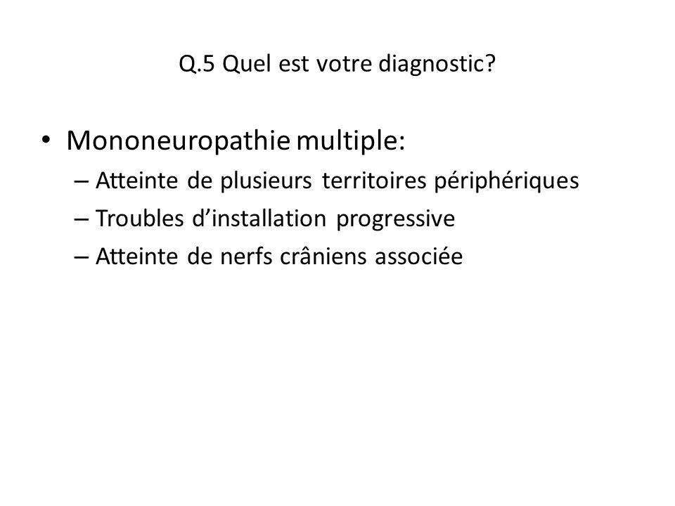Q.5 Quel est votre diagnostic? Mononeuropathie multiple: – Atteinte de plusieurs territoires périphériques – Troubles d'installation progressive – Att