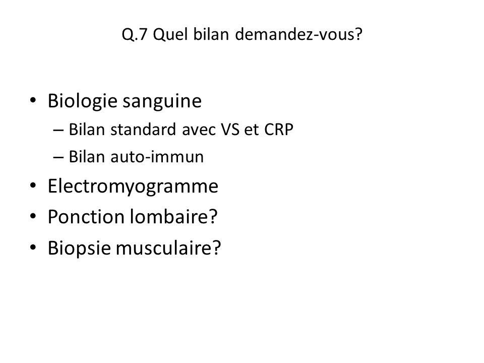 Q.7 Quel bilan demandez-vous? Biologie sanguine – Bilan standard avec VS et CRP – Bilan auto-immun Electromyogramme Ponction lombaire? Biopsie muscula