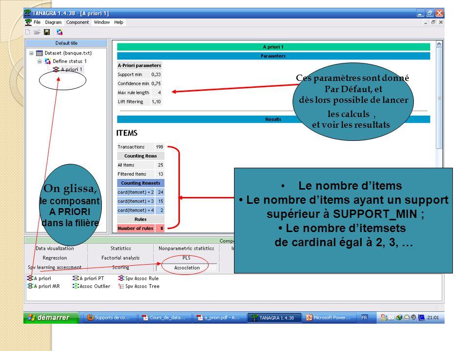 On glissa, le composant A PRIORI dans la filière Ces paramètres sont donné Par Défaut, et dès lors possible de lancer les calculs, et voir les resulta