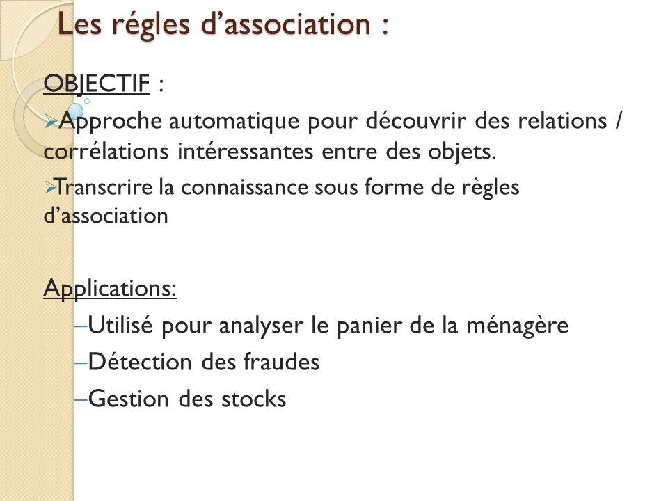 Les régles d'association : OBJECTIF :  Approche automatique pour découvrir des relations / corrélations intéressantes entre des objets.  Transcrire