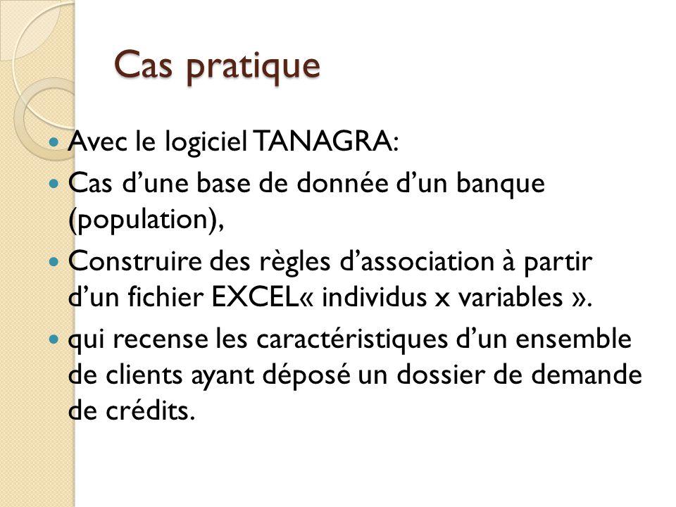 Cas pratique Avec le logiciel TANAGRA: Cas d'une base de donnée d'un banque (population), Construire des règles d'association à partir d'un fichier EX