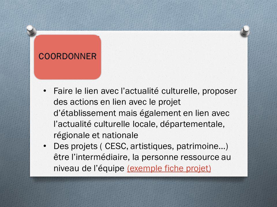 COORDONNER Faire le lien avec l'actualité culturelle, proposer des actions en lien avec le projet d'établissement mais également en lien avec l'actual